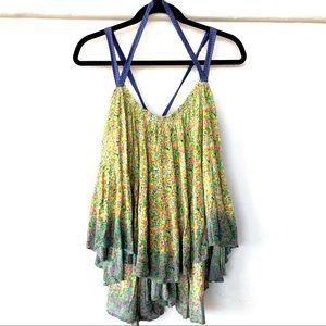 Free People • Green Floral Dip Dye Tie Tank